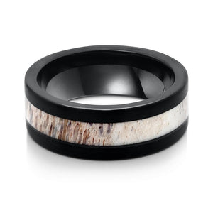 the black tungsten with antler inlay wedding band