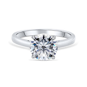 the one and only silver round cut solitaire engagement ring