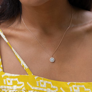the lily rose gold necklace being worn