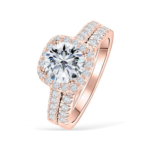 the evermore rose gold halo cushion cut wedding ring set