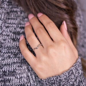 the paige chevron silver wedding ring