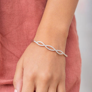 the nova silver twist bracelet on wrist