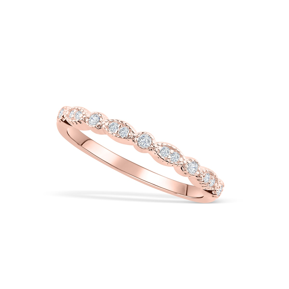 0746e61754a1f Rose Gold Vintage Wedding Band | Stackable Antique Ring - Modern ...