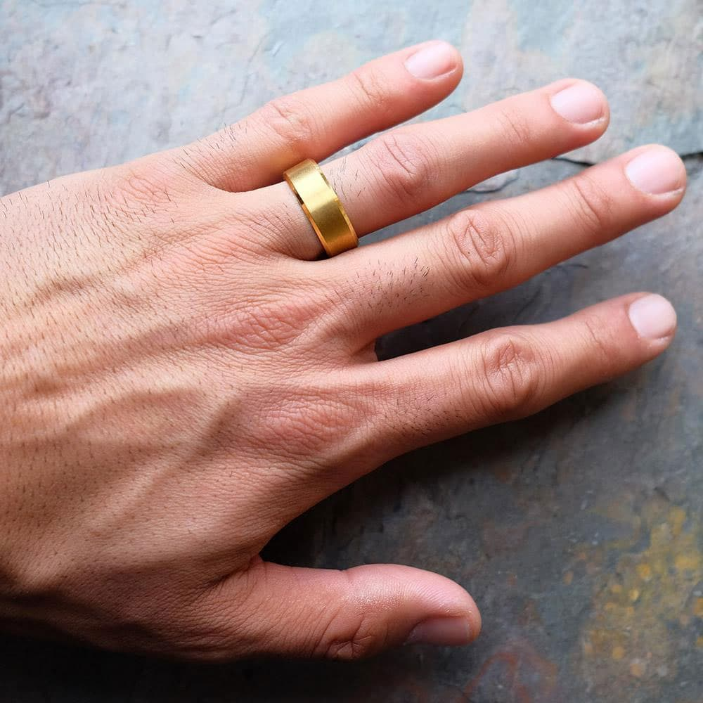 Brushed Gold Wedding Band | Gold Titanium Ring - Modern Gents ...