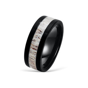 the marksman black tungsten ring with antler inlay
