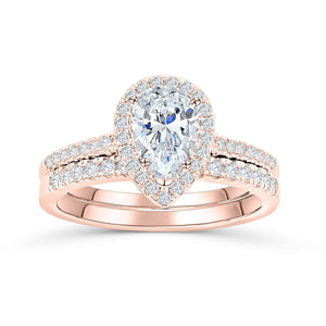 the bliss rose gold pear shaped engagement ring