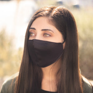 Female wearing Black Velvet Breathable Face mask with Adjustable straps - Modern Gents Trading Co.