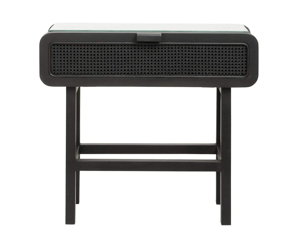 Hixton Black Rattan Console Table