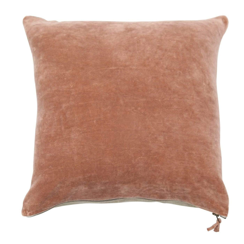 Hixton Cosy Up Velvet and linen Cushion - Blush Pink