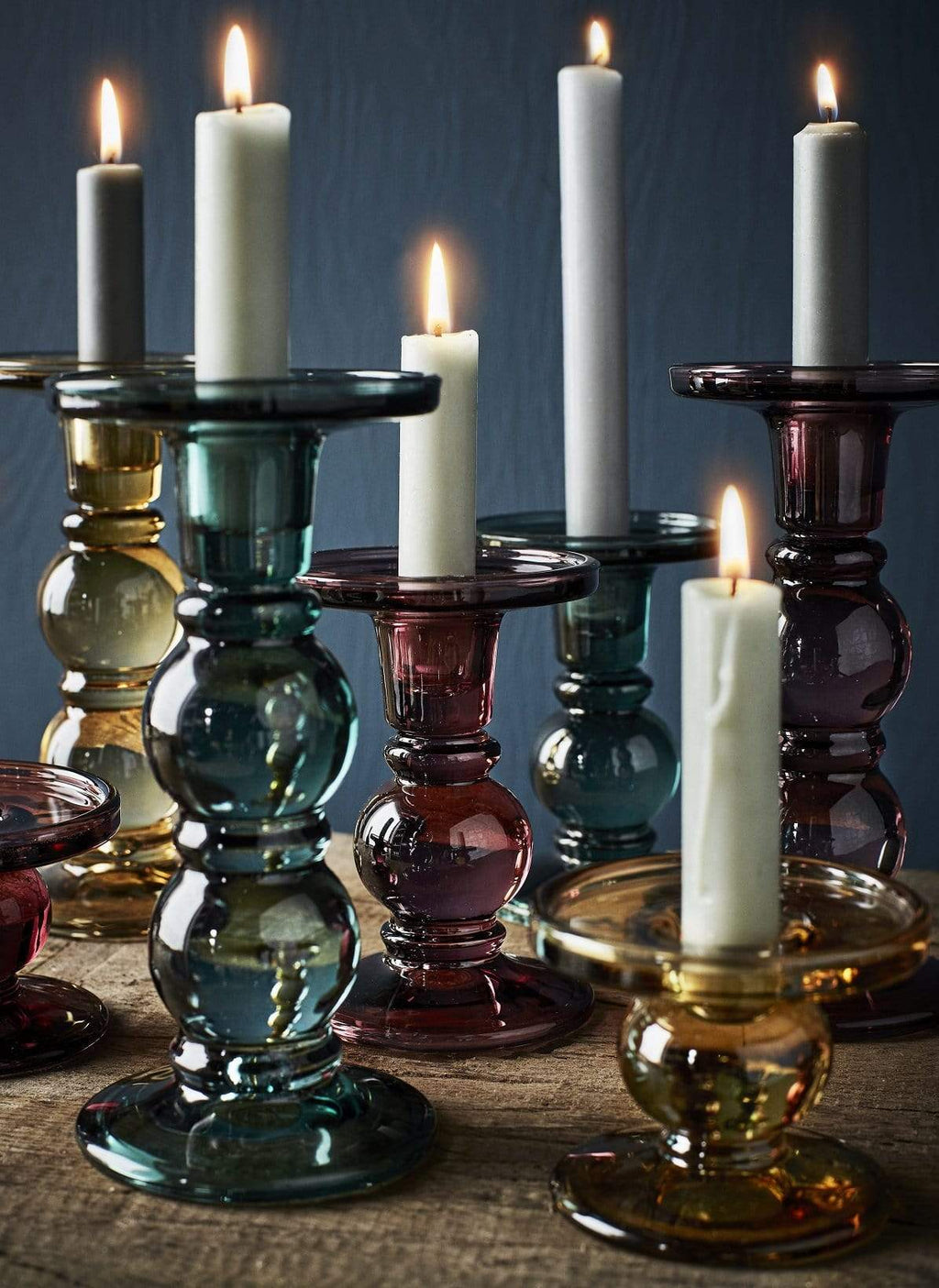 Hixton Grey Glass Candlestick Holder