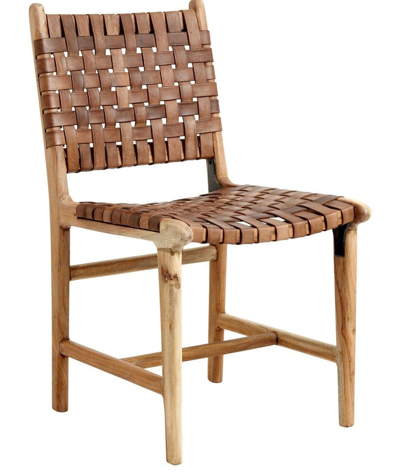 Hixton Handmade Leather And Acacia Wood Chair