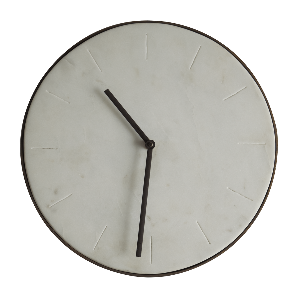 Hixton Homegoods Timeless White Marble Wall Clock