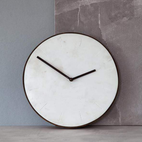 Hixton-Timeless-White-Marble-Wall-Clock
