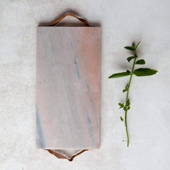 Hixton Kitchen Rose Tinted Marble and Mango Wood cutting Board