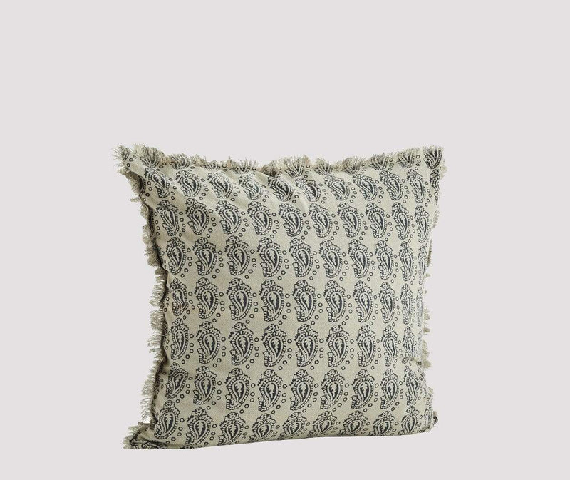 Hixton Printed Cotton Cushion Cover - Off White & Grey