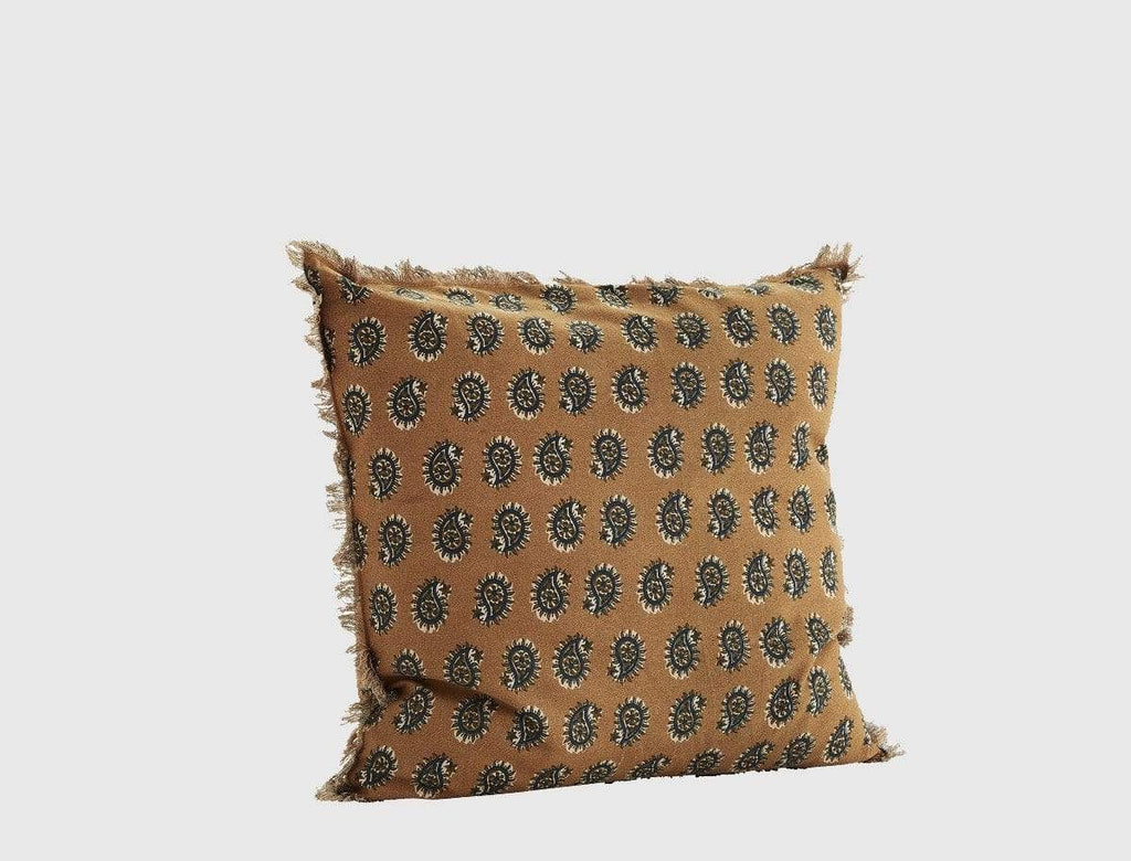 Hixton Printed Pattern Cushion Cover -  Salted Caramel & Blue