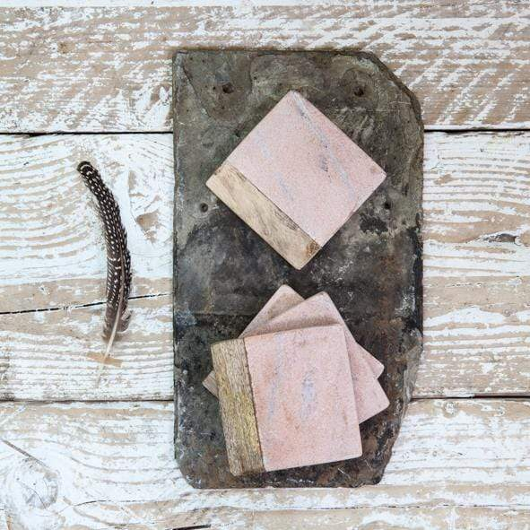 Hixton Set of 4- Square Pink Marble Coasters