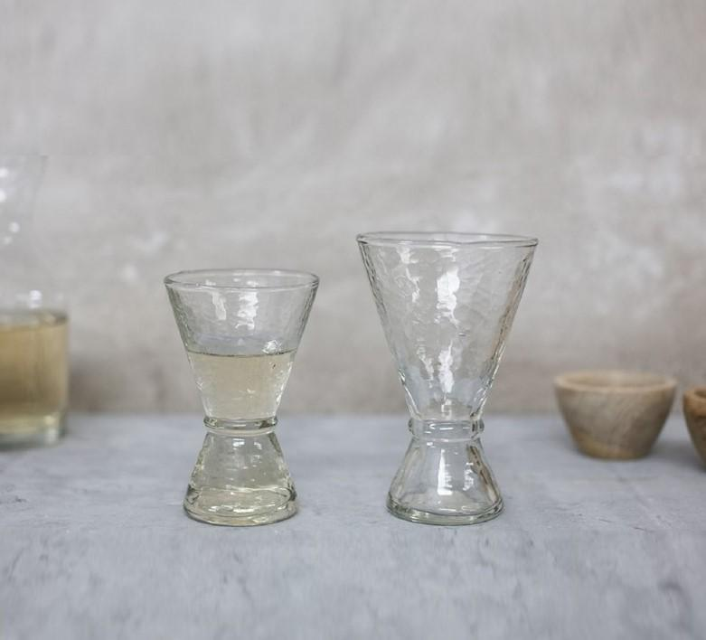 Hixton Small 11.5 x 7.5cm (dia) Conical Glasses - Hammered Glass