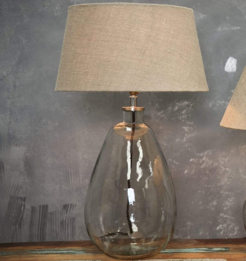 Hixton Tall Clear Glass Table Lamp - Hammered Effect