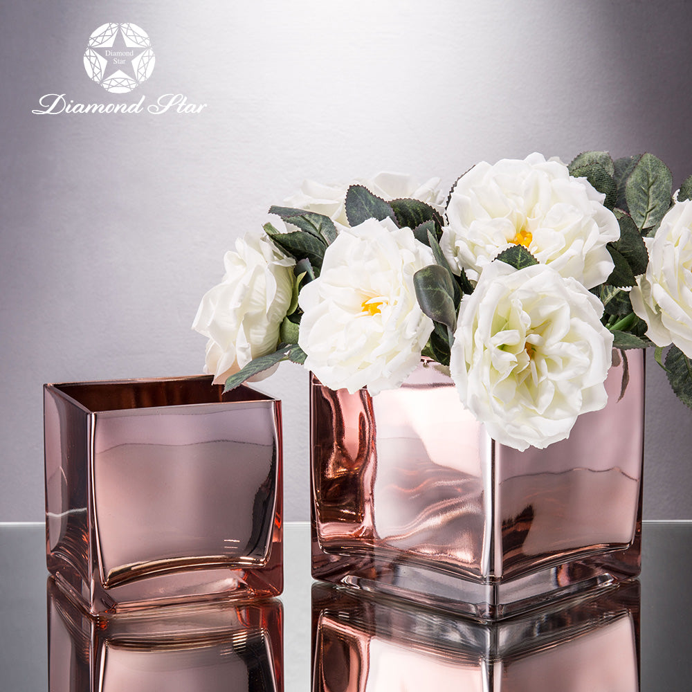 Gold and rose gold square glass flower vase hot sale flowersvase gold and rose gold square glass flower vase hot sale reviewsmspy