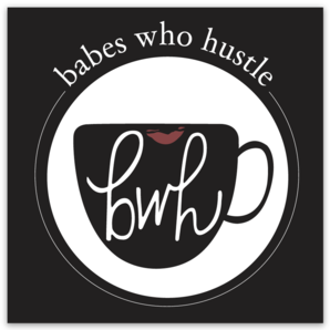 babes who hustle // square sticker with logo