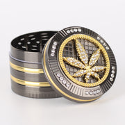 champ high bling bling diamant hanfblatt grinder