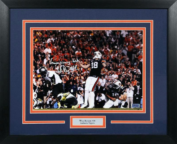 Wes Byrum Autographed Auburn Tigers 11x14 Framed Photograph