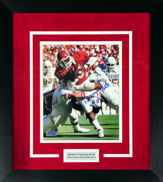 Barry Foster Autographed Arkansas Razorbacks 8x10 Framed Photograph