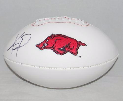 Knile Davis Autographed Arkansas Razorbacks White Logo Football