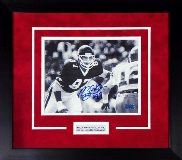 Billy Ray Smith Autographed Arkansas Razorbacks 8x10 Framed Photograph
