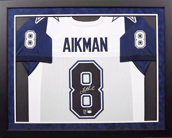 Troy Aikman Autographed Dallas Cowboys #8 Framed Jersey