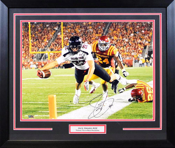 Jace Amaro Autographed Texas Tech Red Raiders 16x20 Framed Photograph (Dive Color)