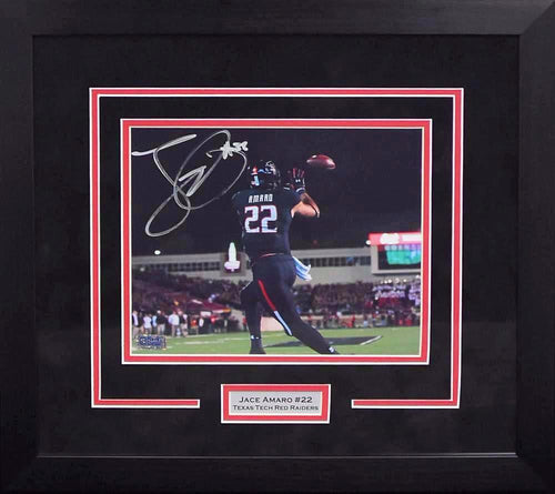 Jace Amaro Autographed Texas Tech Red Raiders 8x10 Framed Photograph (Catch)