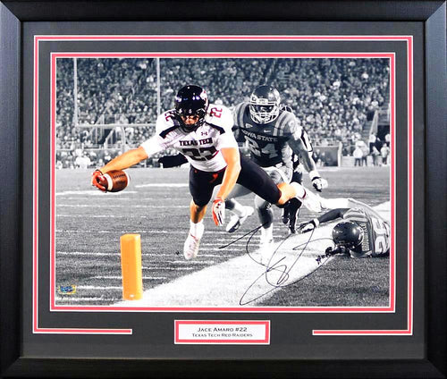 Jace Amaro Autographed Texas Tech Red Raiders 16x20 Framed Photograph (Dive Spotlight)