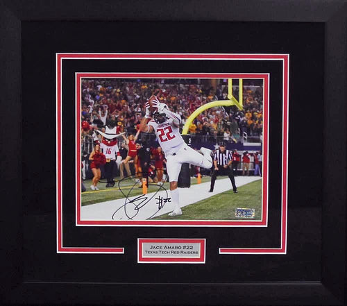Jace Amaro Autographed Texas Tech Red Raiders 8x10 Framed Photograph (vs Baylor)