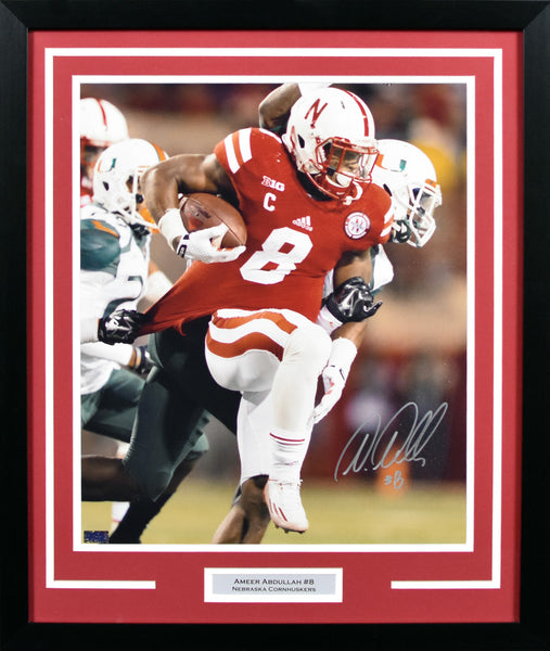 Ameer Abdullah Autographed Nebraska Cornhuskers 16x20 Framed Photograph (vs Miami)