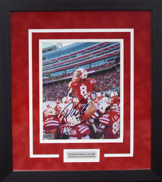 Ameer Abdullah Autographed Nebraska Cornhuskers 8x10 Framed Photograph (Carried)