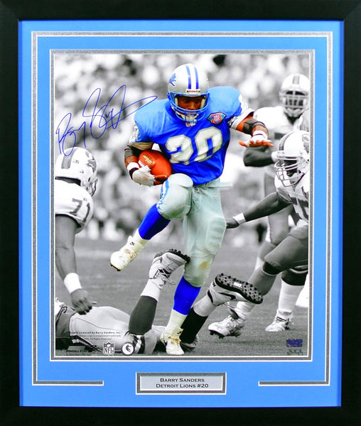 Barry Sanders Autographed Detroit Lions 16x20 Framed Photograph