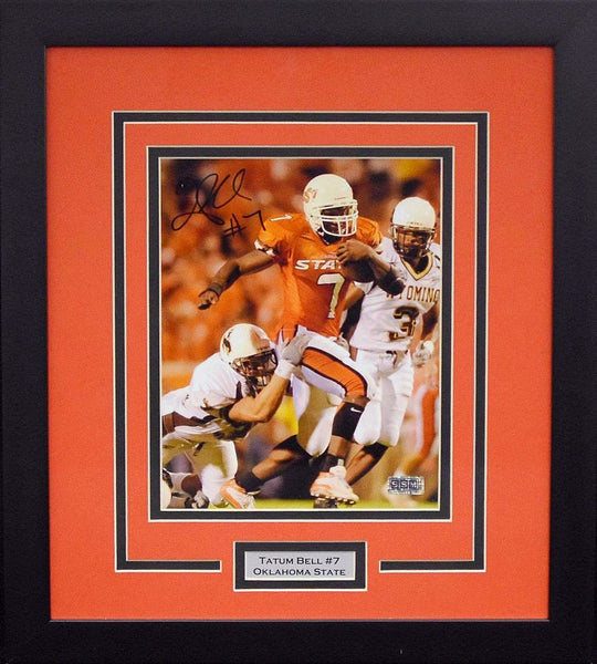Tatum Bell Autographed Oklahoma State Cowboys 8x10 Framed Photograph (vs Wyoming)