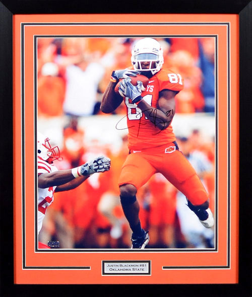Justin Blackmon Autographed Oklahoma State Cowboys 16x20 Framed Photograph (vs Nebraska)