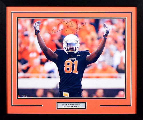 Justin Blackmon Autographed Oklahoma State Cowboys 16x20 Framed Photograph (Arms Up)