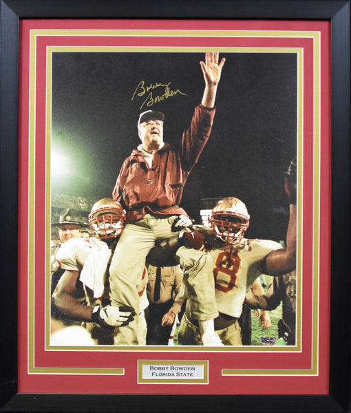 Bobby Bowden Autographed Florida State Seminoles 16x20 Framed Photograph - Carried