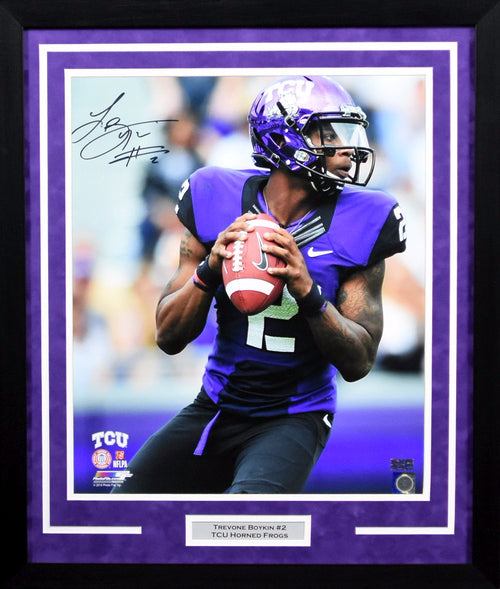 Trevone Boykin Autographed TCU Horned Frogs 16x20 Framed Photograph (Solo)