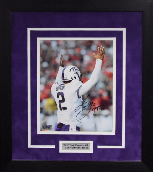 Trevone Boykin Autographed TCU Horned Frogs 8x10 Framed Photograph (Back)