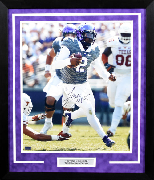Trevone Boykin Autographed TCU Horned Frogs 16x20 Framed Photograph (vs Texas)