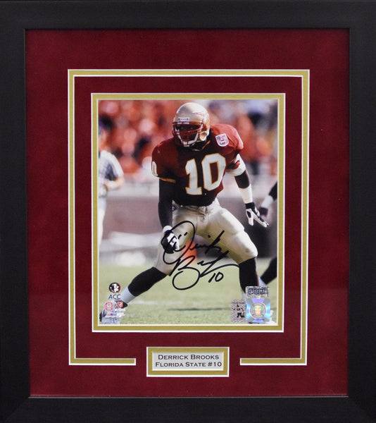 Derrick Brooks Autographed Florida State Seminoles 8x10 Framed Photograph