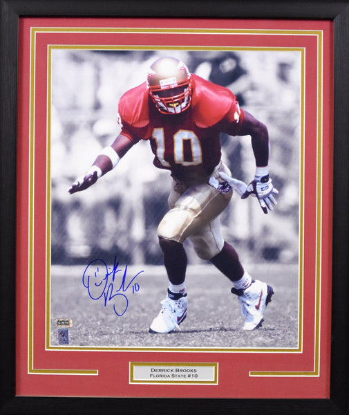 Derrick Brooks Autographed Florida State Seminoles 16x20 Framed Photograph - Spotlight