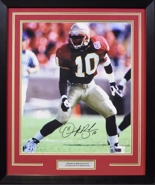 Derrick Brooks Autographed Florida State Seminoles 16x20 Framed Photograph - Solo