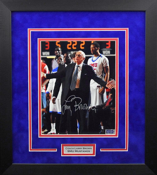Larry Brown Autographed SMU Mustangs 8x10 Framed Photograph