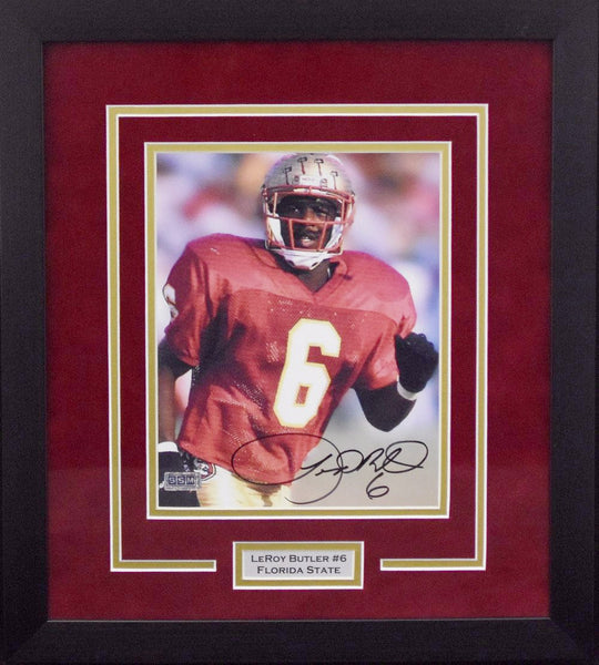 Leroy Butler Autographed Florida State Seminoles 8x10 Framed Photograph - Solo